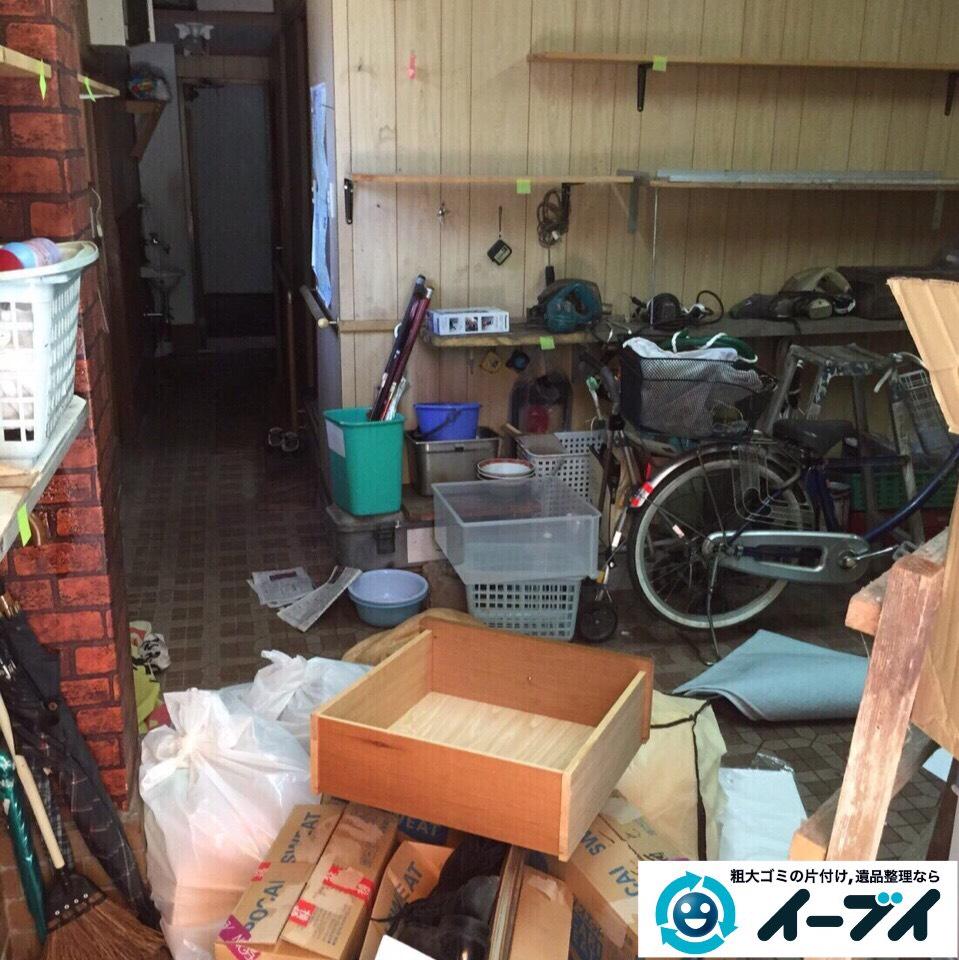 9月1日 大阪府岸和田市で店舗倉庫に伴う廃品や粗大ゴミの引き取りの不用品回収。写真1
