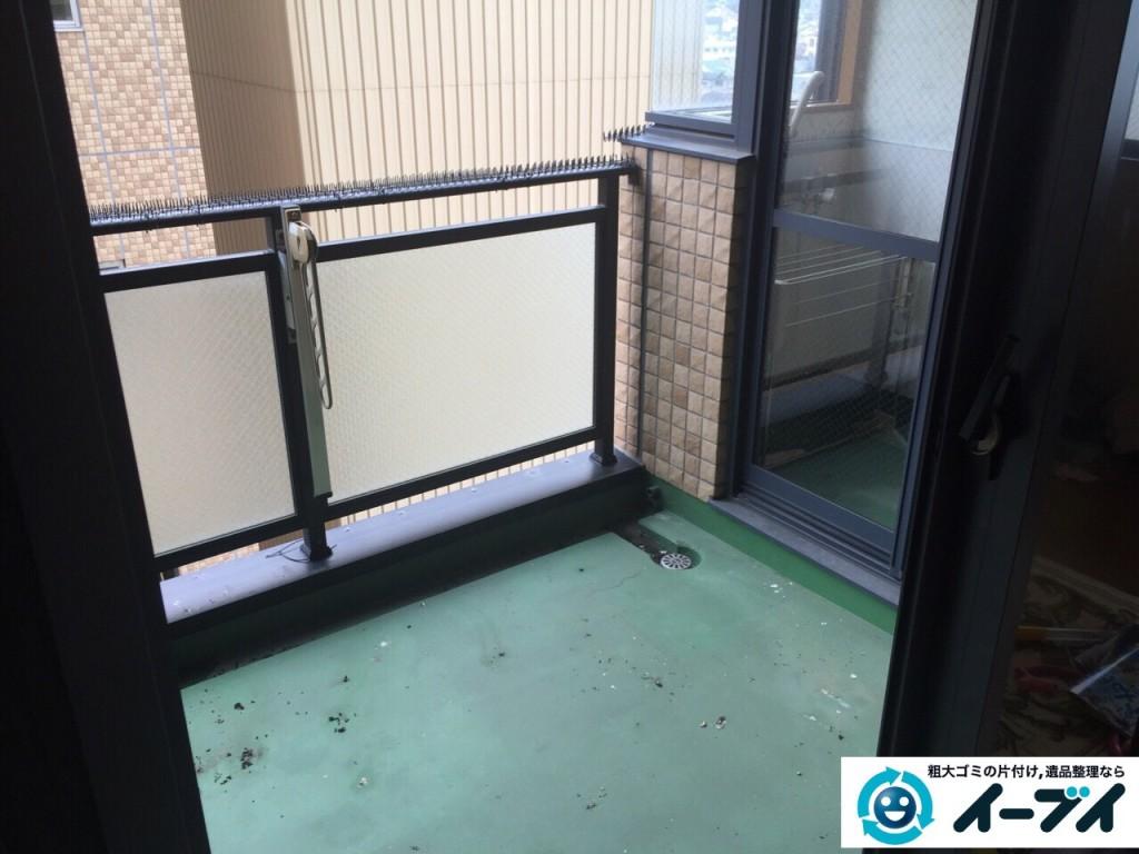9月5日 大阪府松原市でベランダの廃品や粗大ゴミの不用品回収をしました。作業現場1