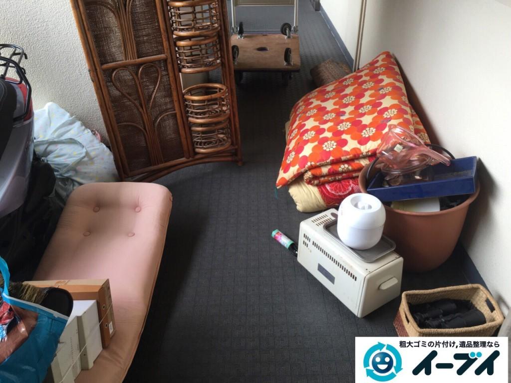 10月4日 大阪府柏原市で物置きの中のキャンプ用品や布団などの粗大ゴミの不用品回収をしました。写真3