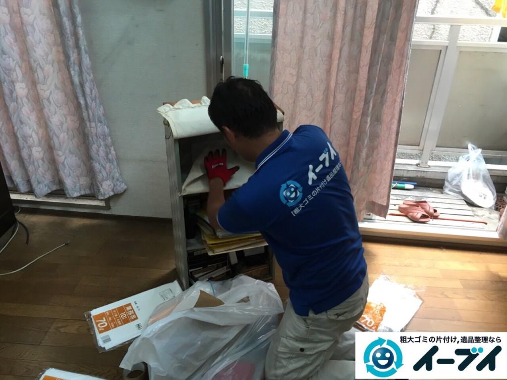 9月4日 大阪府四条畷市で部屋の片付けに伴う鏡台や下駄箱や粗大ゴミの不用品回収をしました。【玄関編の片付け】作業写真1