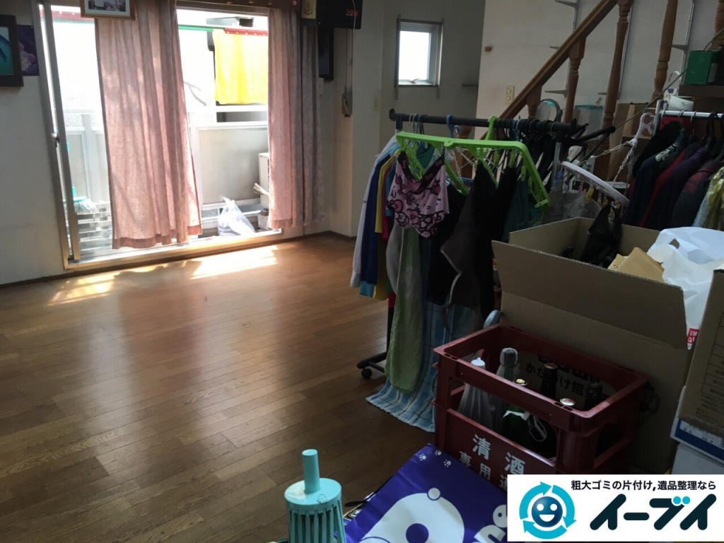 9月4日 大阪府四条畷市で部屋の片付けに伴うソファや粗大ゴミの不用品回収をしました。【リビングの片付け】 回収処分の様子2
