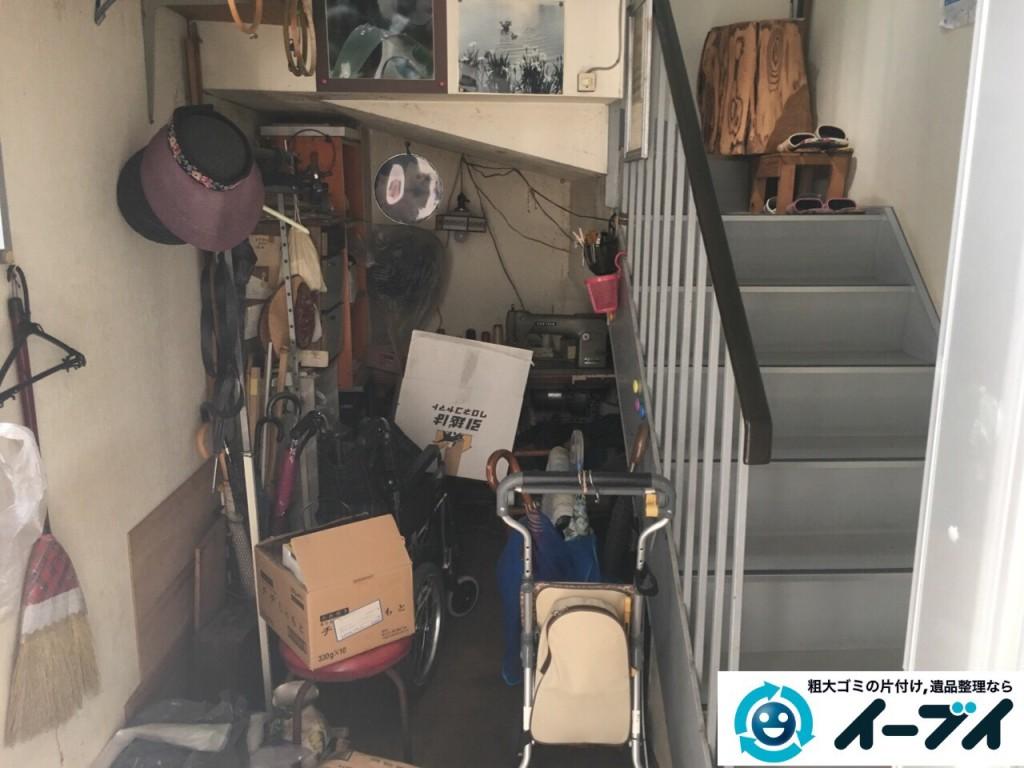 10月10日 大阪府大阪市東住吉区で実家の片付けに伴う廃品や粗大ゴミの不用品回収をしました。【物置き編】 写真1