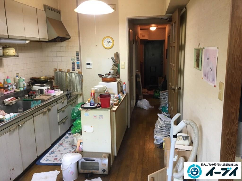 10月4日 大阪市鶴見区で遺品整理で台所の食器棚や生活用品の粗大ゴミの回収処分をしました。1