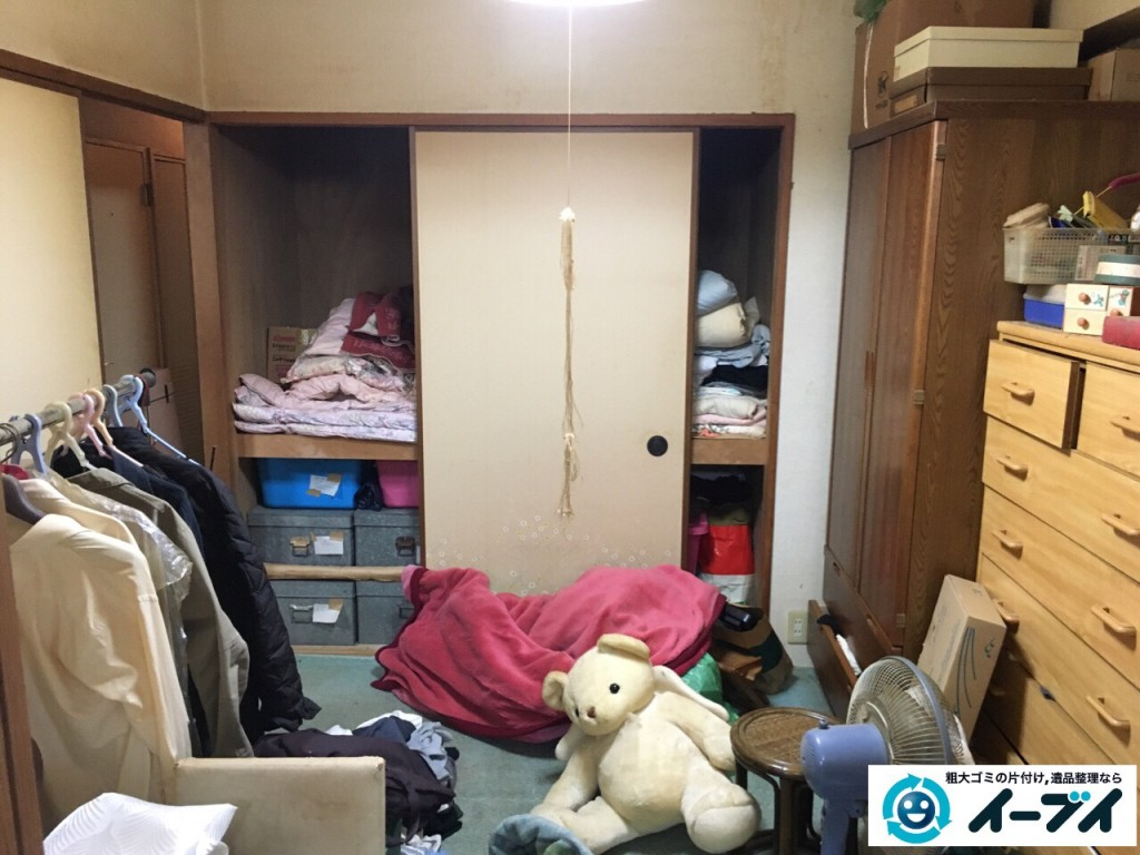 10月5日。大阪市鶴見区で遺品整理に伴いタンスや衣類などの日用品を回収処分しました。(作業動画付き)2