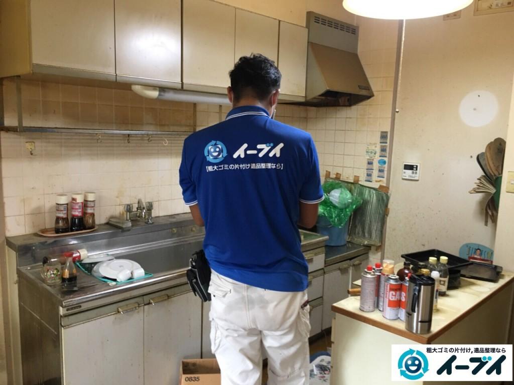 10月4日 大阪市鶴見区で遺品整理で台所の食器棚や生活用品の粗大ゴミの回収処分をしました。3