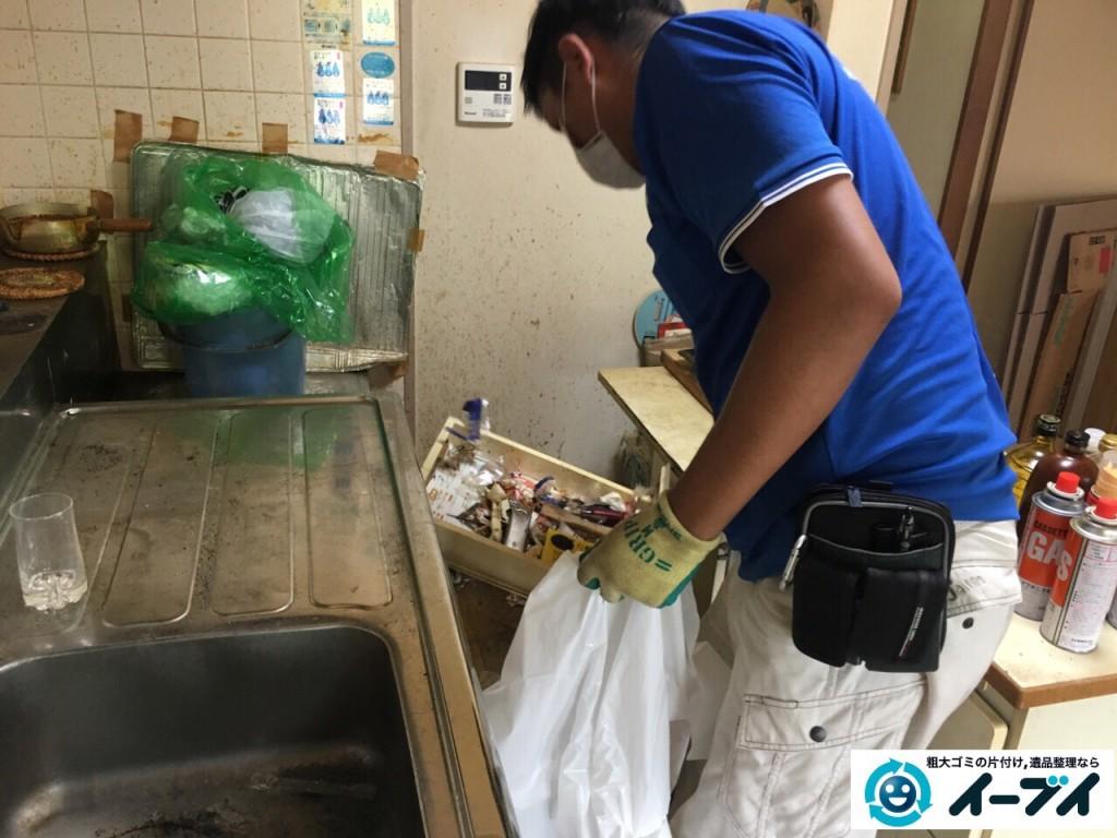 10月4日 大阪市鶴見区で遺品整理で台所の食器棚や生活用品の粗大ゴミの回収処分をしました。4