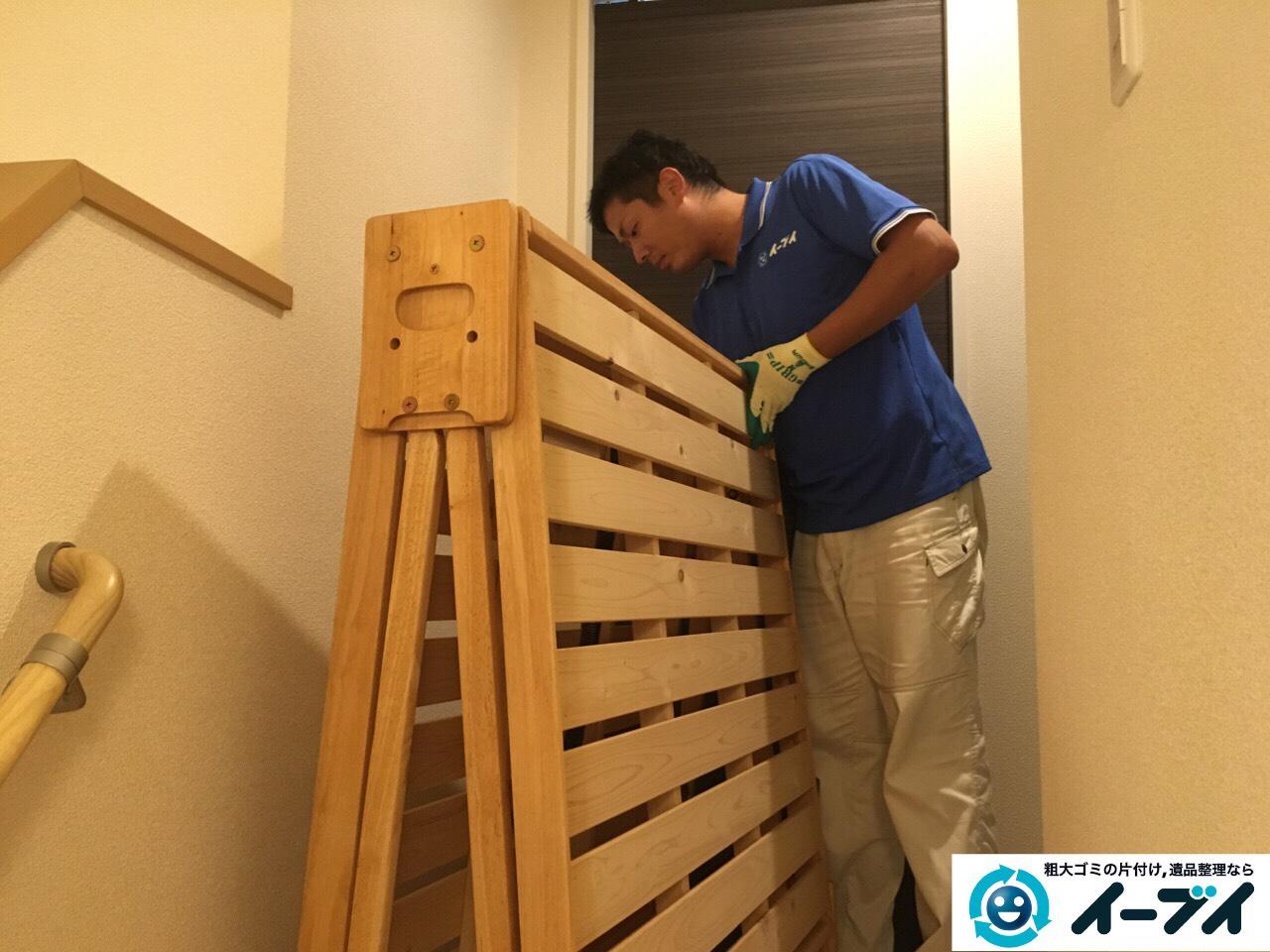 10月13日 大阪府堺市美原区で折り畳みすのこベッドの家具の粗大ゴミを不用品回収しました。写真2