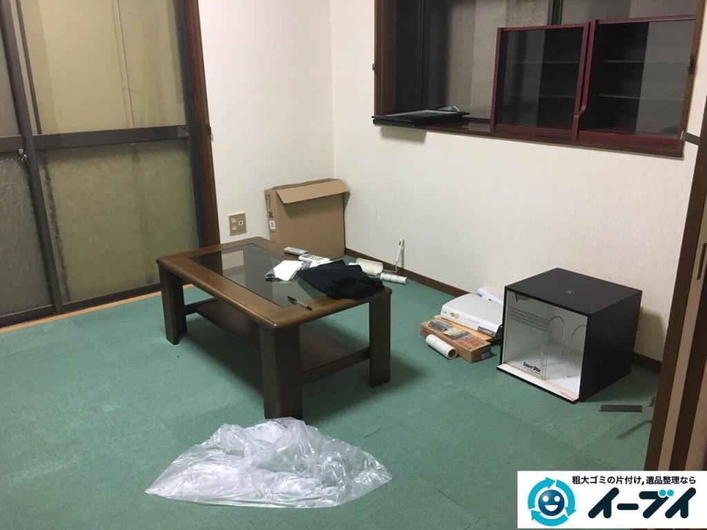 12月31日 大阪府高槻市で食器棚や絨毯の粗大ゴミを不用品回収しました。写真1