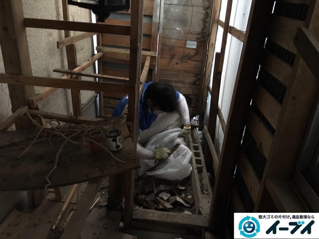 12月23日 大阪府摂津市で石臼や庭の物置の廃品を回収処分しました。写真3