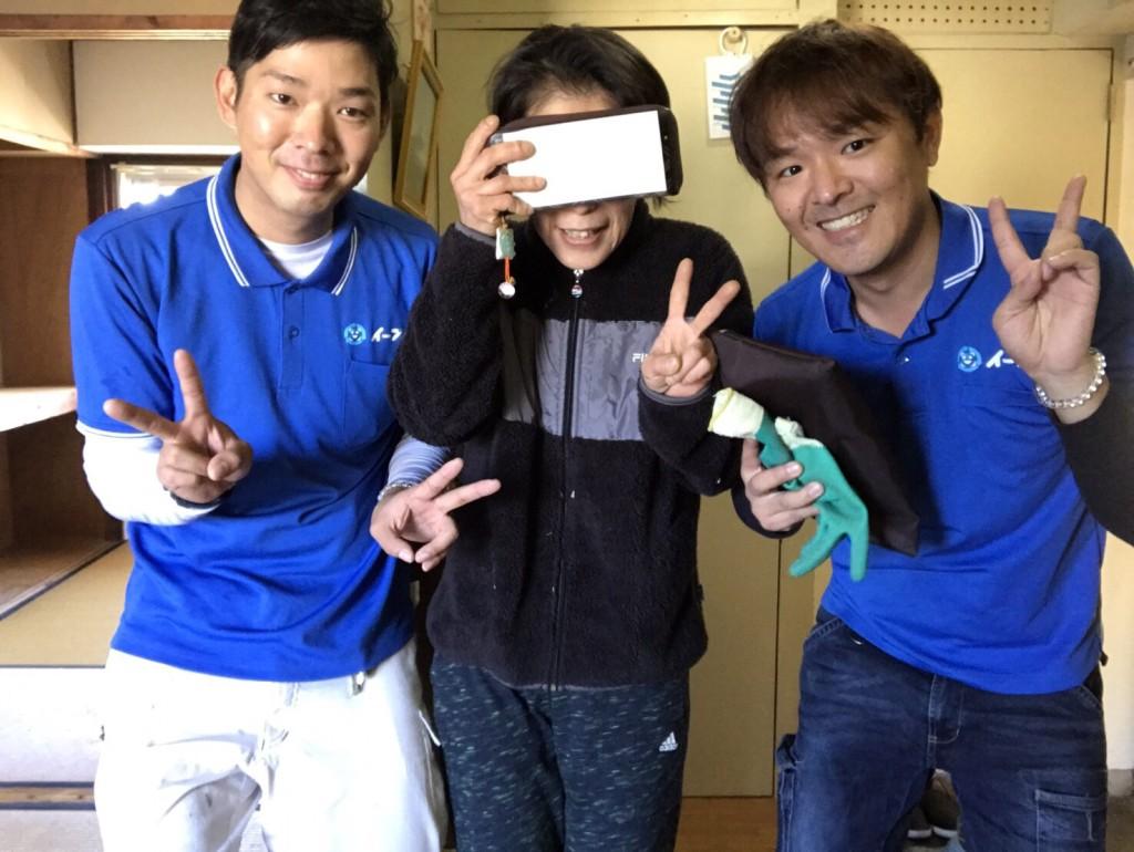 12月21日 大阪府八尾市で食器棚やブラウン管テレビの処分でイーブイをご利用していただきました。写真1