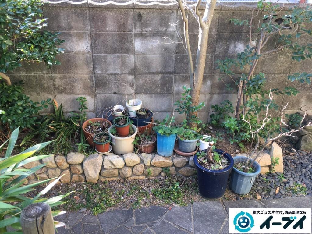 1月16日 大阪府岸和田市で庭の植木や石臼など廃品や粗大ゴミの不用品回収をしました。写真6