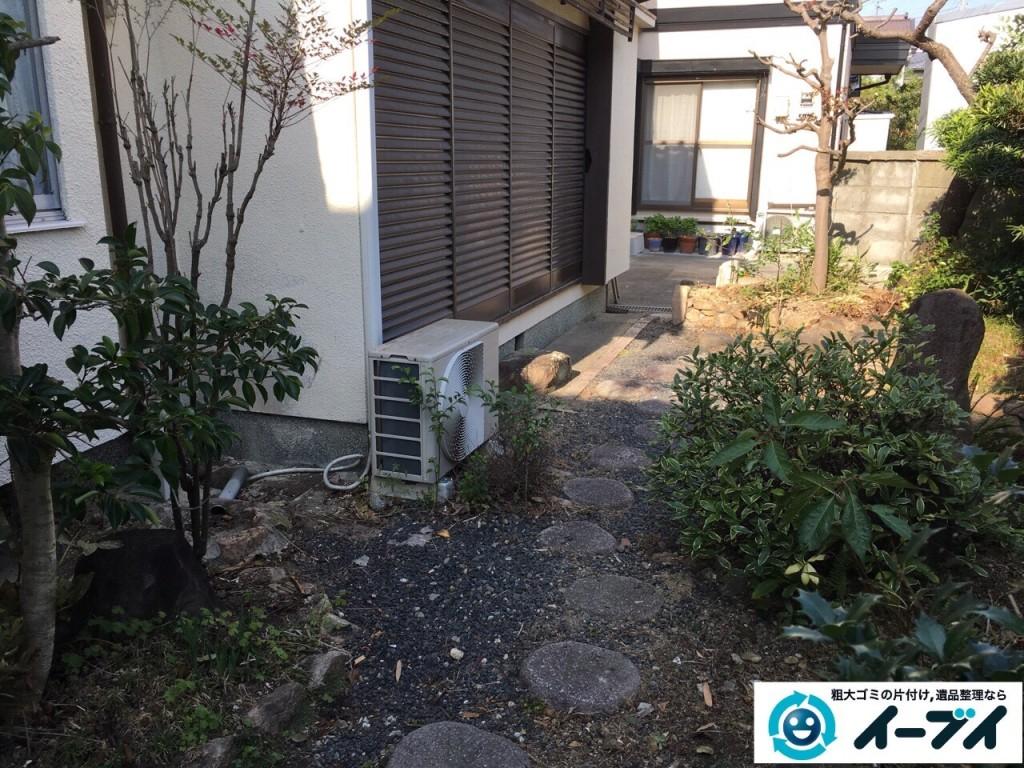 1月16日 大阪府岸和田市で庭の植木や石臼など廃品や粗大ゴミの不用品回収をしました。写真5