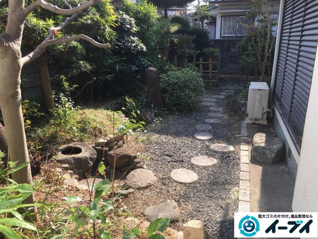 1月16日 大阪府岸和田市で庭の植木や石臼など廃品や粗大ゴミの不用品回収をしました。写真4