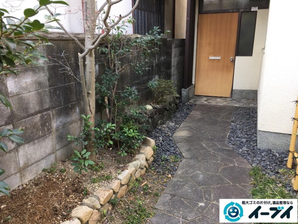 1月16日 大阪府岸和田市で庭の植木や石臼など廃品や粗大ゴミの不用品回収をしました。写真7