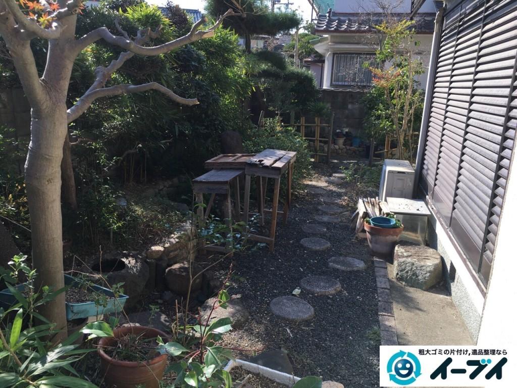 1月16日 大阪府岸和田市で庭の植木や石臼など廃品や粗大ゴミの不用品回収をしました。写真3