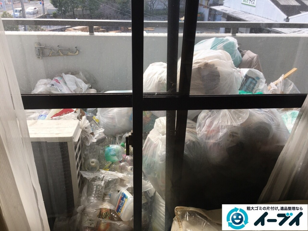 2017年1月17日 大阪府交野市でベランダや部屋に溢れているゴミ屋敷の片付けをしました。写真3