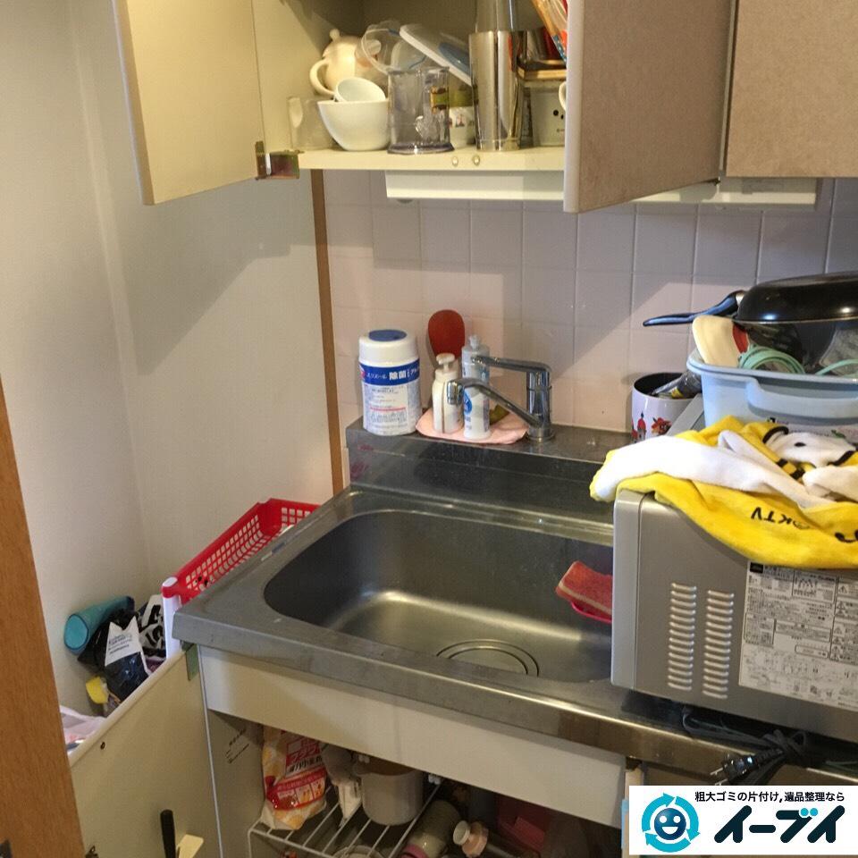 1月2日 大阪府大阪市城東区で電子レンジや食器の粗大ゴミの不用品回収をしました。写真1