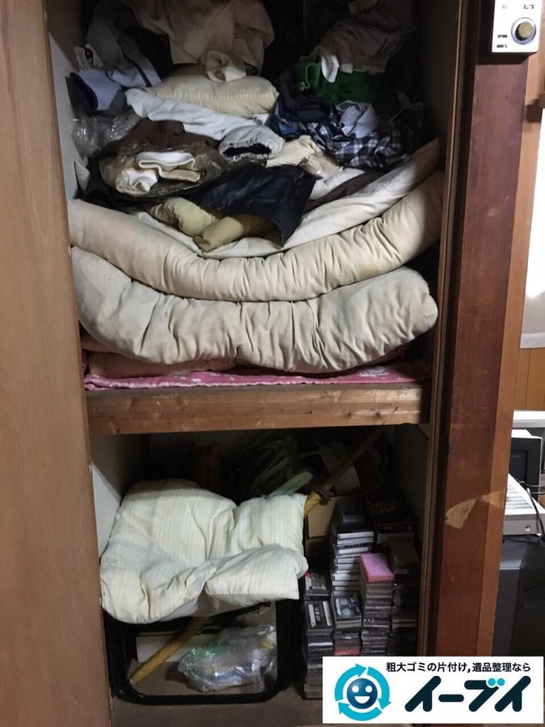 2017年1月2日大阪府富田林市で遺品整理に伴い布団や粗大ゴミと家具処分の回収をしました。写真1
