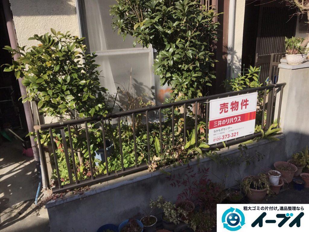 2017年3月20日大阪府大阪市東淀川区で庭の植木や廃品を片付け不用品回収をしました。写真1