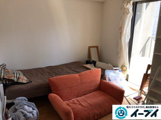 2017年5月13日大阪府吹田市でソファーやベッドなど家具や粗大ゴミの不用品回収をしました。写真1
