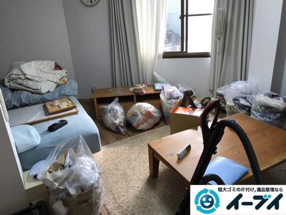 2017年7月21日大阪府茨木市で引越しに伴いベッドやタンスや粗大ゴミの不用品回収をしました。写真1