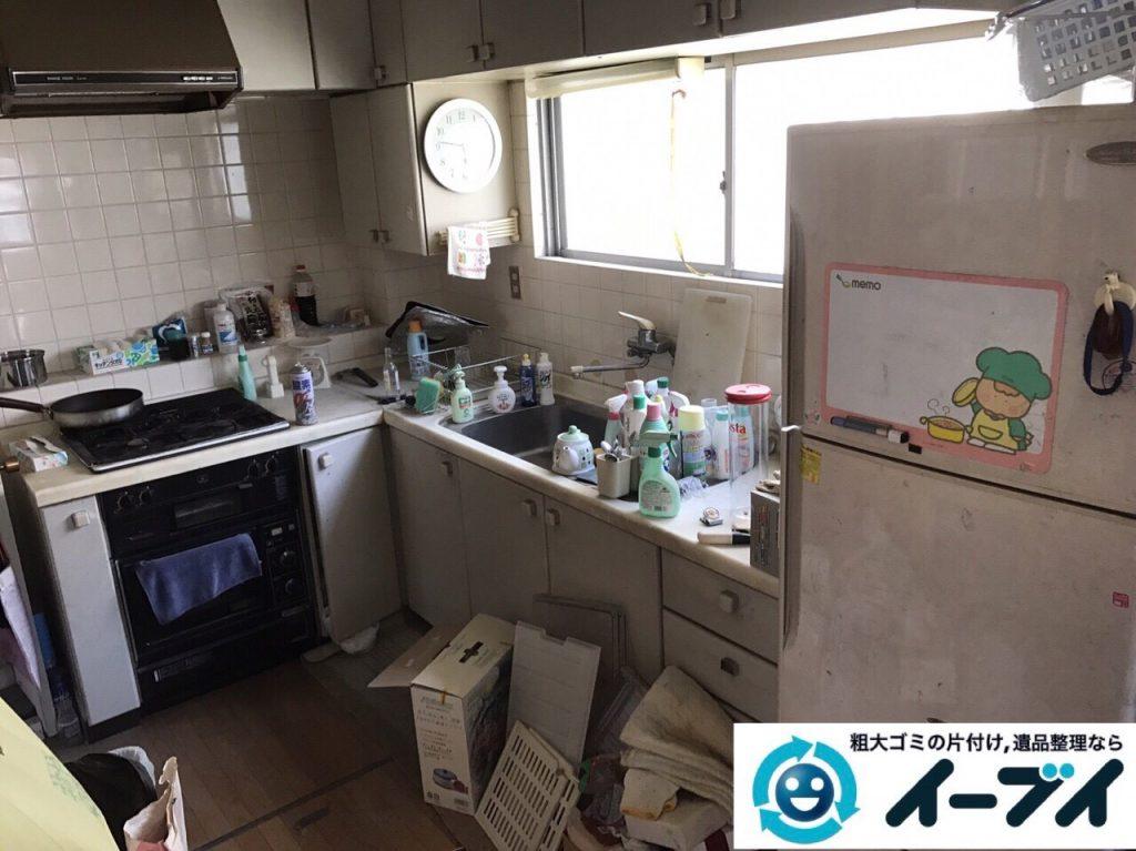 2017年8月13日大阪府枚方市で遺品整理に伴い食器棚や生活用品の処分をしました。写真1