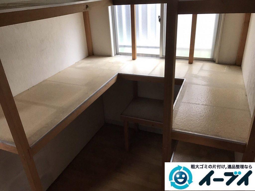 2017年8月8日大阪府島本町で物置部屋の廃品や衣装ケース等の粗大ゴミの不用品回収をしました。写真1
