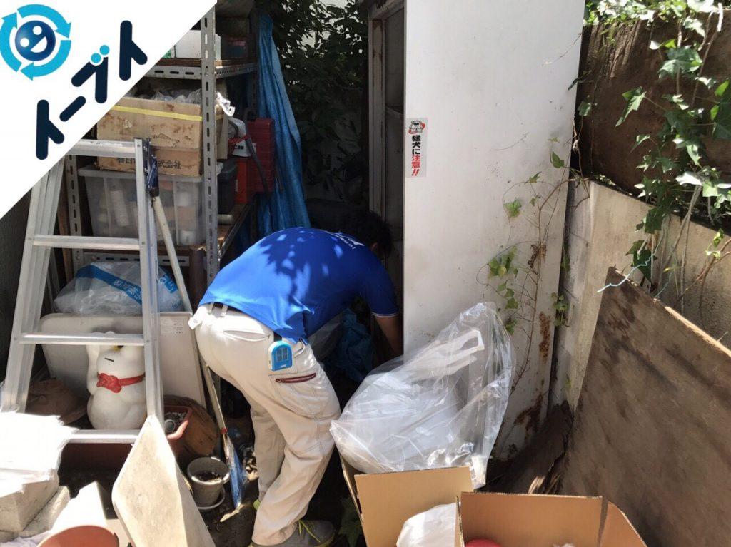 2017年11月17日大阪府柏原市で庭の物置や植木鉢などの不用品回収をしました【1日目】写真1