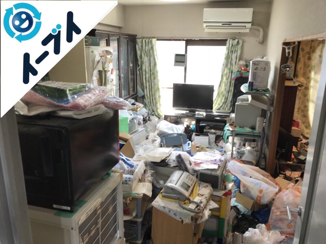 2018年2月16日大阪府大阪市浪速区で生ゴミや生活用品で溢れたゴミ屋敷の片付け。写真1