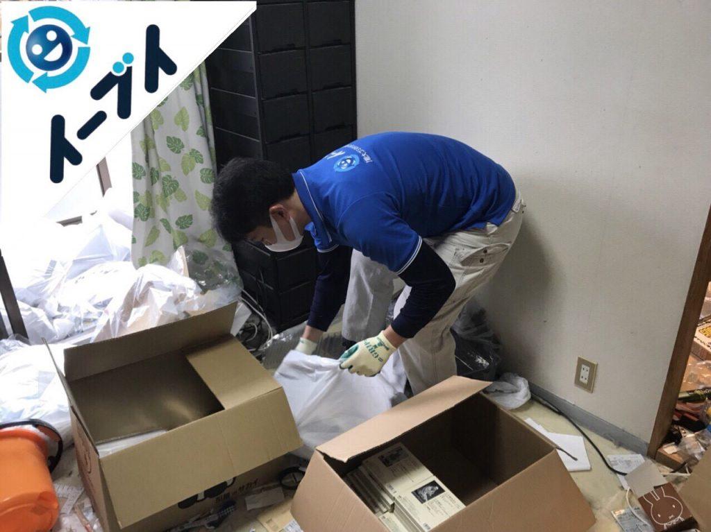 2018年2月16日大阪府大阪市浪速区で生ゴミや生活用品で溢れたゴミ屋敷の片付け。写真3