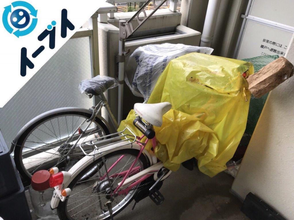 2018年5月7日大阪府寝屋川市でベランダの自転車や衣装ケースなどの不用品回収をしました。写真2