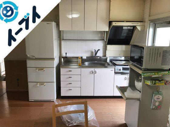 2018年10月3日大阪府大阪市旭区で電子レンジや冷蔵庫と布団など粗大ゴミの不用品回収作業。写真2