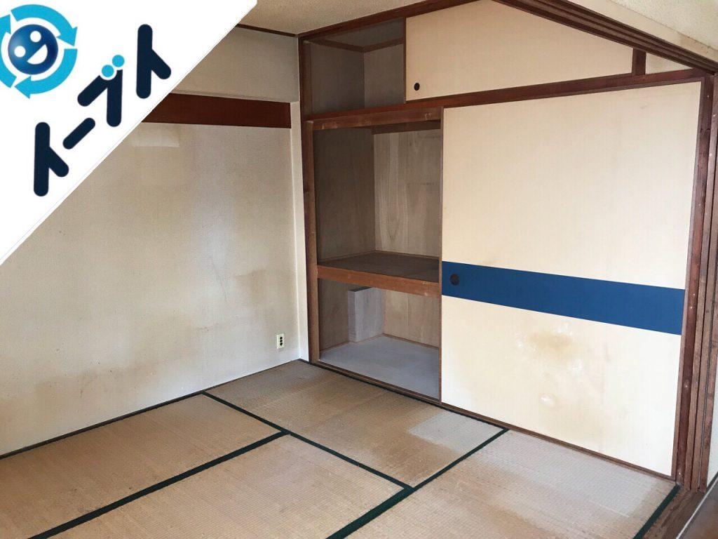 2018年9月30日大阪府大阪市大正区で押入れに眠っている布団や座布団など粗大ゴミの不用品回収。写真3