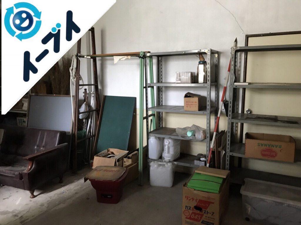 2018年10月19日大阪府大阪市都島区で倉庫のラックやソファなどの廃品や粗大ゴミの不用品回収。写真2