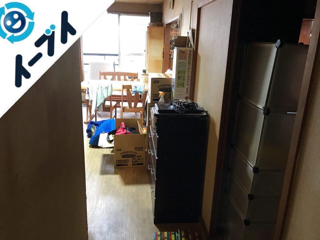 2018年10月16日大阪府大阪市鶴見区でベランダの洗濯機や食器棚など家具処分と不用品回収。写真4