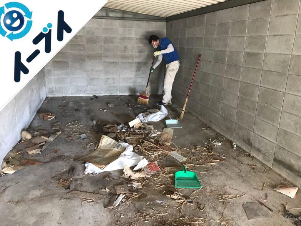 2018月12月3日大阪府堺市堺区でガレージの鉄製ラックや工具類の廃品回収をしました。写真1