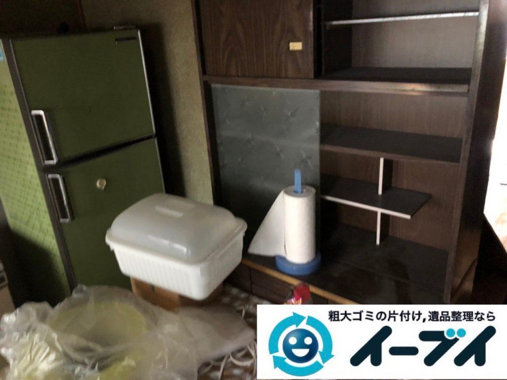2019年1月25日大阪府大阪市東成区で台所の冷蔵庫や食器棚の大型粗大ゴミ処分などの不用品回収。写真3