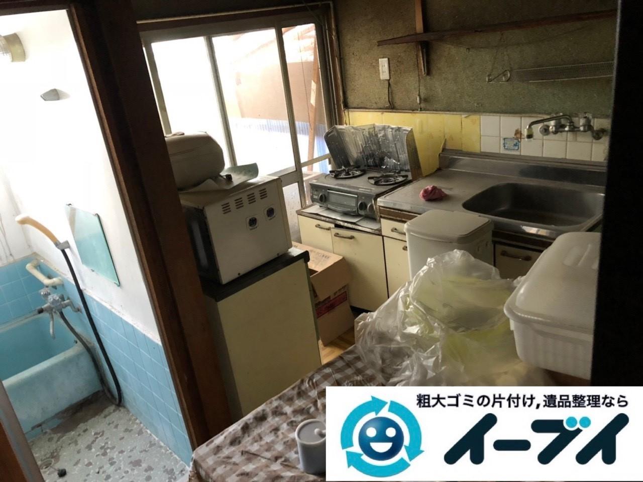 2019年1月25日大阪府大阪市東成区で台所の冷蔵庫や食器棚の大型粗大ゴミ処分などの不用品回収。写真1