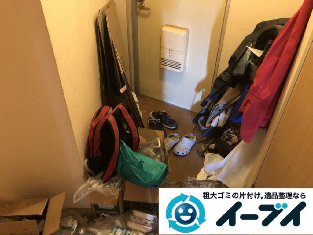 2019年1月6日大阪府大阪市大正区でコタツや生活用品に溢れた部屋の片付け作業。写真3
