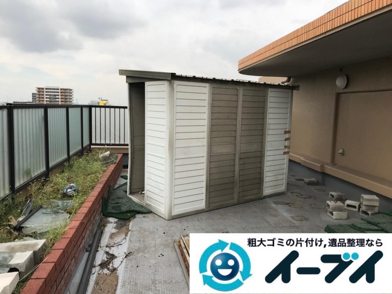 2019年1月3日大阪府堺市堺区で台風の被害で壊れた物置の解体回収の様子。写真6