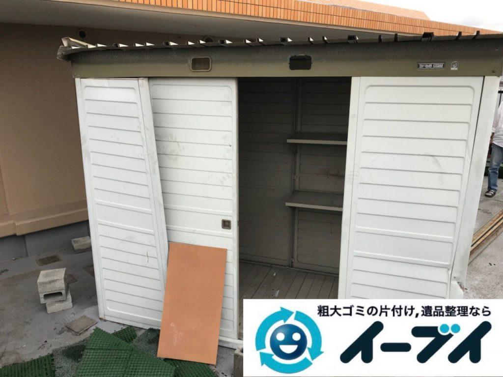 2019年1月3日大阪府堺市堺区で台風の被害で壊れた物置の解体回収の様子。写真3