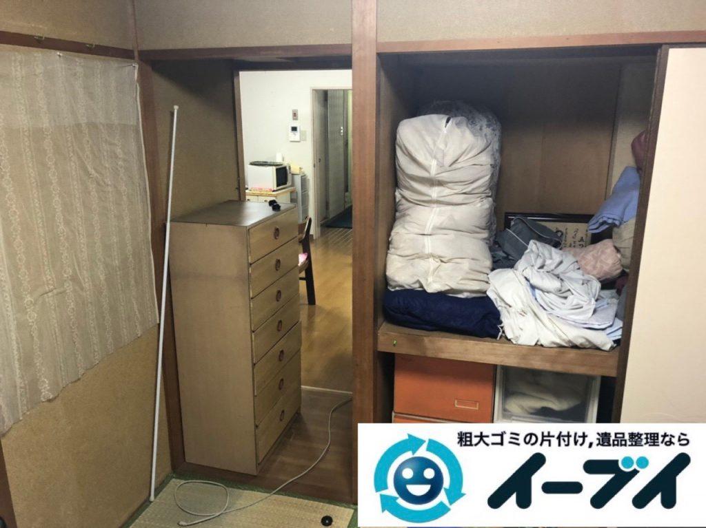 2019年2月12日大阪府忠岡町で箪笥や収納棚の家具処分をはじめ、お部屋の物を全処分させていただきました。写真2