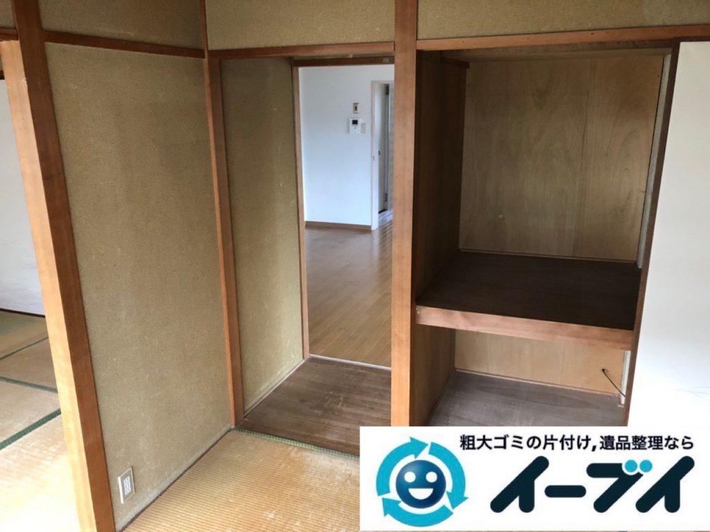 2019年2月12日大阪府忠岡町で箪笥や収納棚の家具処分をはじめ、お部屋の物を全処分させていただきました。写真1