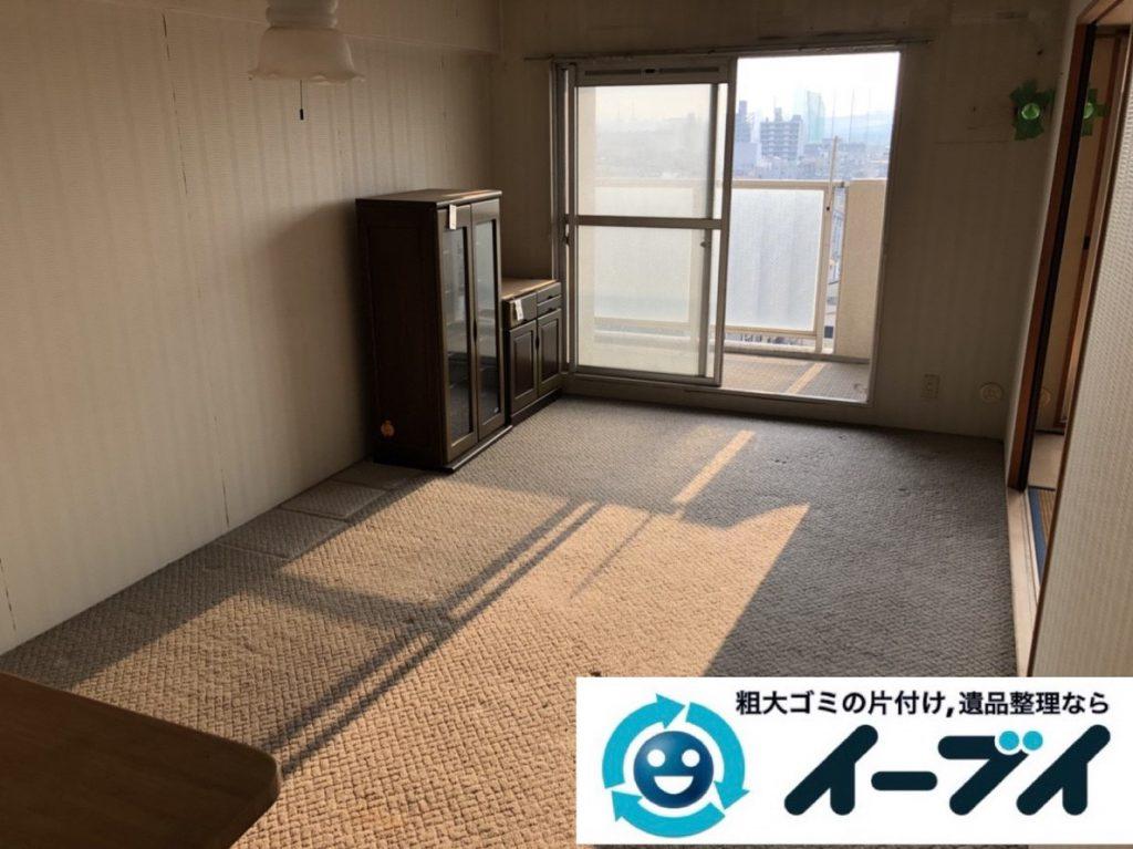 2019年2月14日大阪府東大阪市で食器棚や冷蔵庫の大型粗大ゴミ処分の不用品回収。写真2