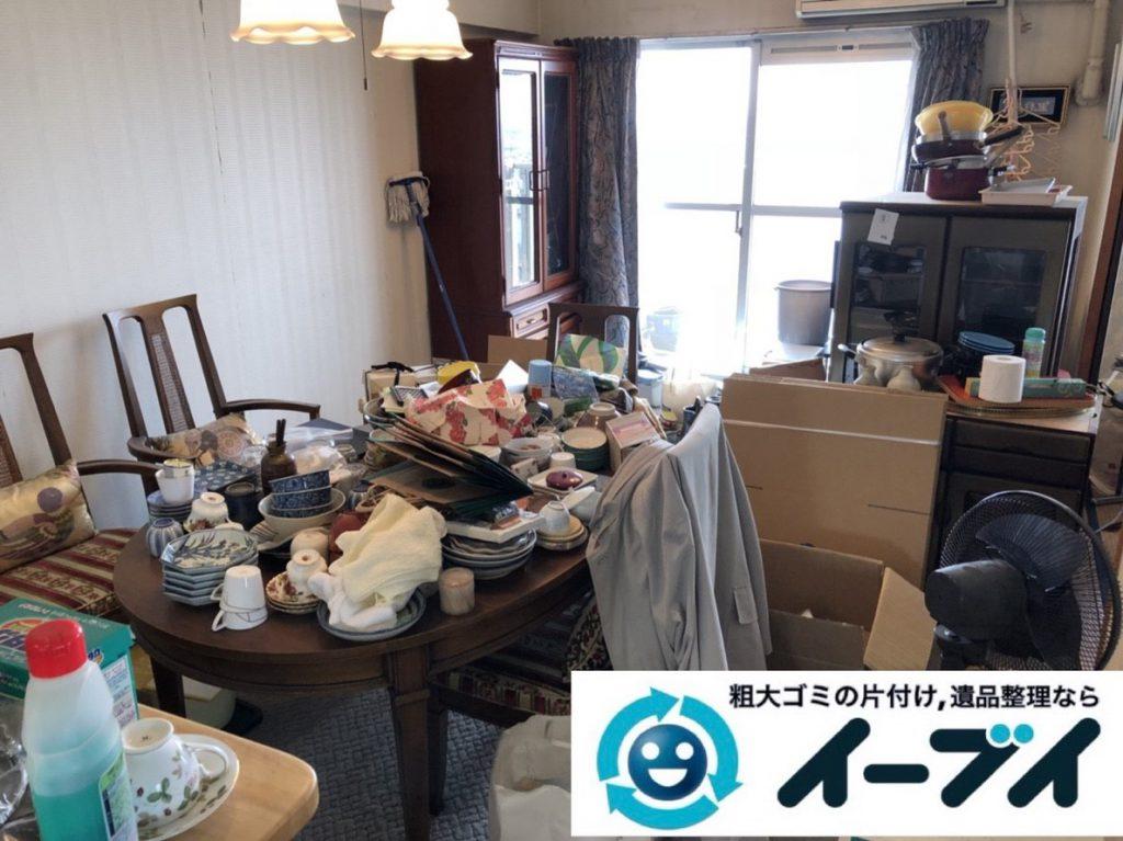 2019年2月14日大阪府東大阪市で食器棚や冷蔵庫の大型粗大ゴミ処分の不用品回収。写真1
