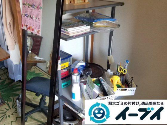 2019年2月20日大阪府池田市で収納ラックやカラーボックスなどの不用品回収作業。写真1