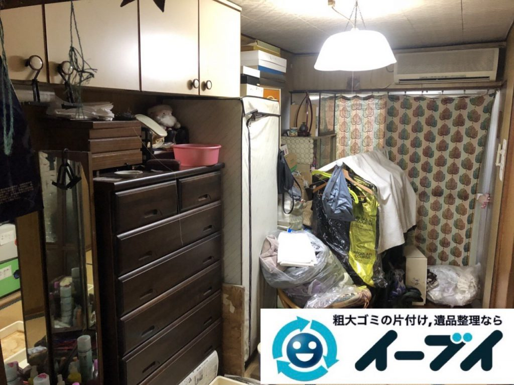 2019年4月16日大阪府八尾市でゴミ屋敷化した汚部屋の片付け作業。写真1