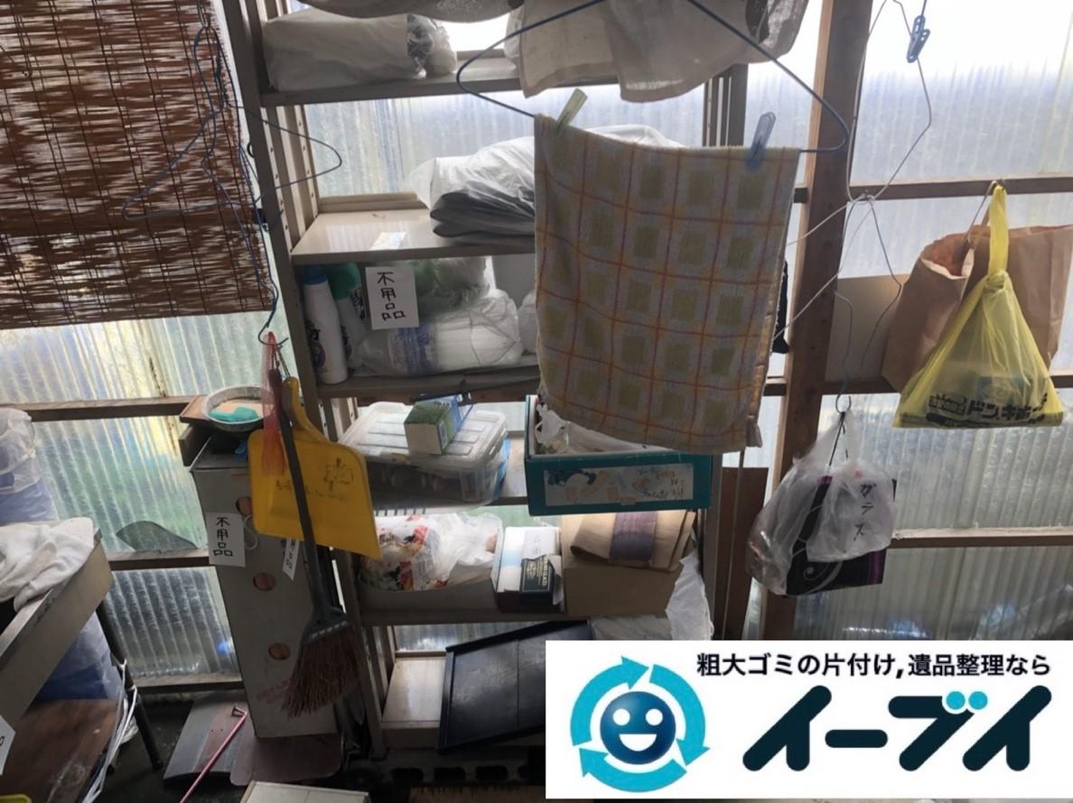 2019年5月2日大阪府池田市でスチールラックなどお庭の不用品回収。写真3