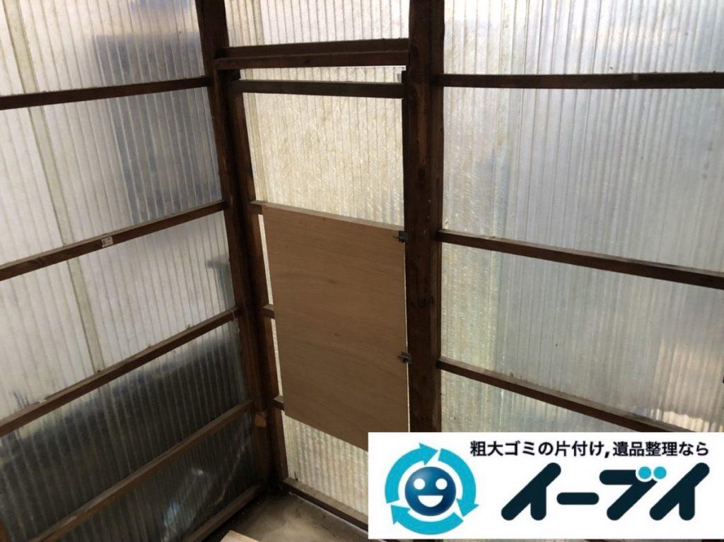 2019年4月28日大阪府池田市でスチールラックなどお庭の不用品回収。写真2