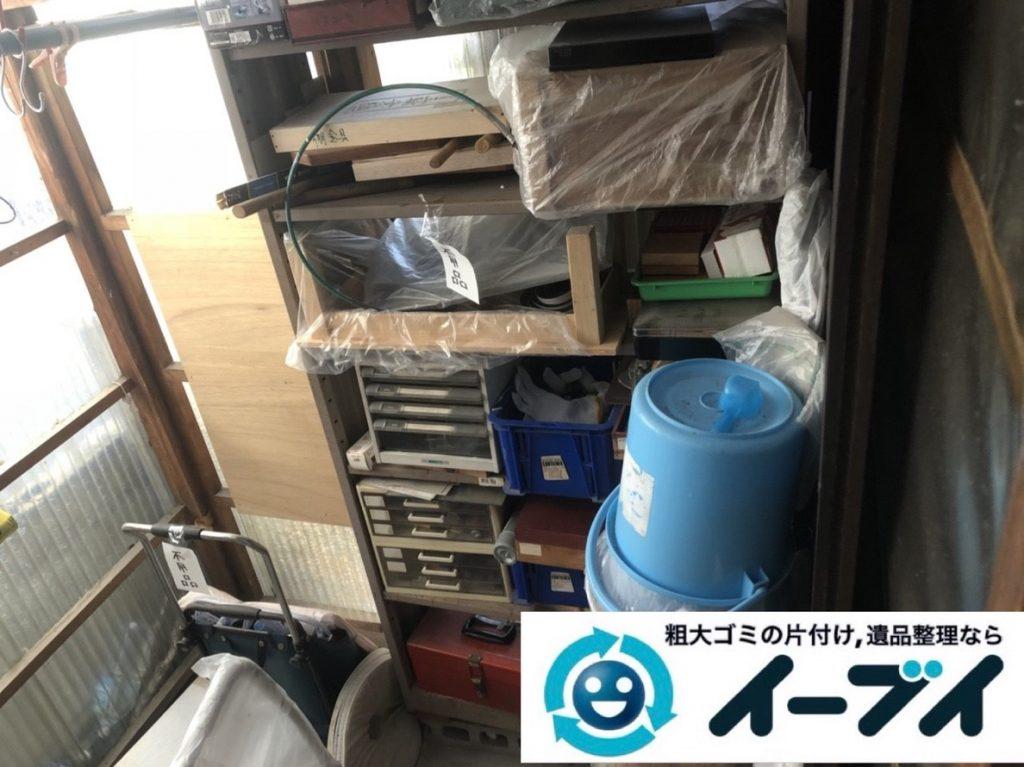 2019年5月2日大阪府池田市でスチールラックなどお庭の不用品回収。写真1
